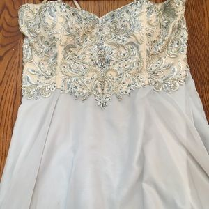 Light Blue & Silver Accent Long Prom Dress